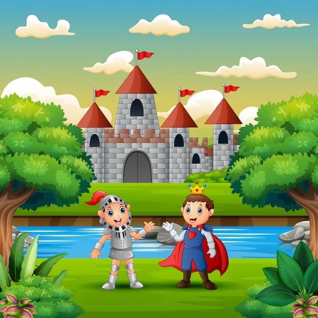 Caricature d'un prince et d'un chevalier au bord de la rivière Vecteur Premium