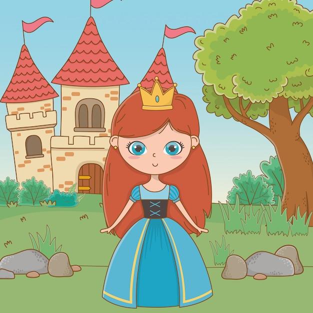 Caricature de princesse médiévale Vecteur gratuit