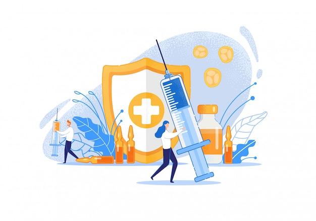 Caricature de procédures de manipulation de médicaments. Vecteur Premium