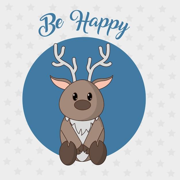 Caricature de rennes d'animal Vecteur Premium