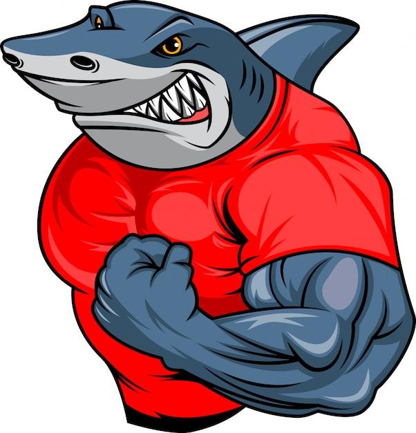 Caricature De Requin Musculaire Vecteur Premium