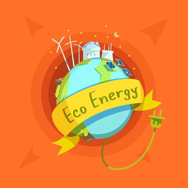 Caricature rétro de l'énergie écologique avec globe et stations électriques sur elle Vecteur gratuit