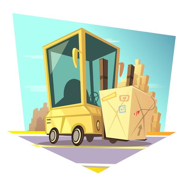 Caricature rétro d'entrepôt Vecteur gratuit