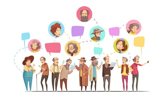 Caricature Rétro En Ligne De Communication Senior Hommes Vecteur gratuit