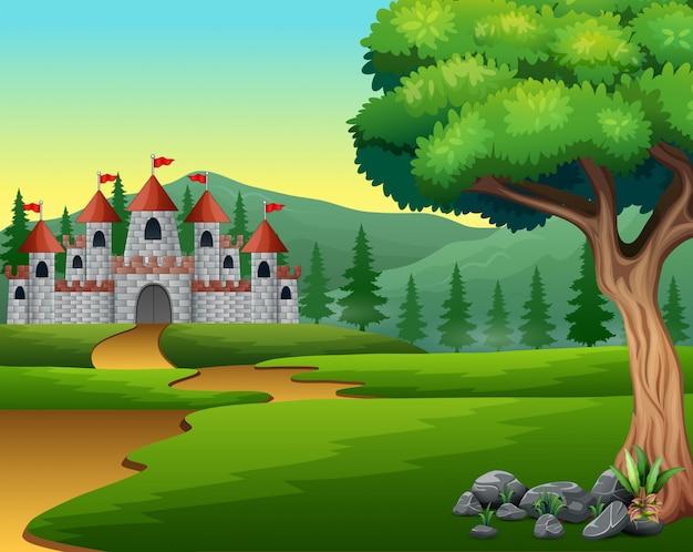 Caricature de la route de la colline au château Vecteur Premium