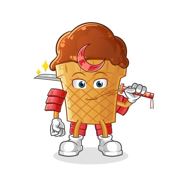 Caricature De Samouraï De Crème Glacée Au Chocolat. Vecteur Premium
