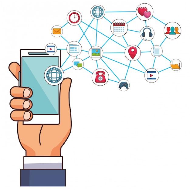 Caricature de smartphone de technologie Vecteur Premium