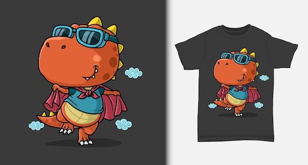 Caricature De Super-héros De Dinosaure Avec Conception De Tshirt Vecteur Premium