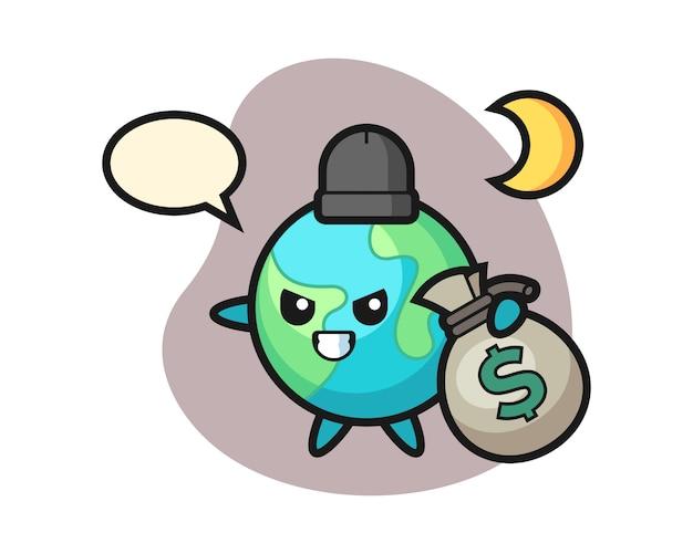 Caricature De La Terre A Volé L'argent Vecteur Premium