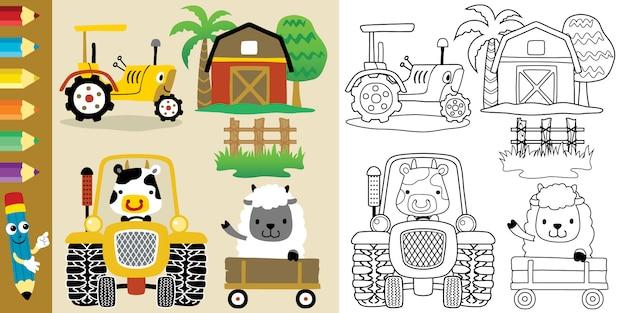 Caricature De Thème De Champ Agricole Avec Des Animaux Drôles Et Des Tracteurs Vecteur Premium
