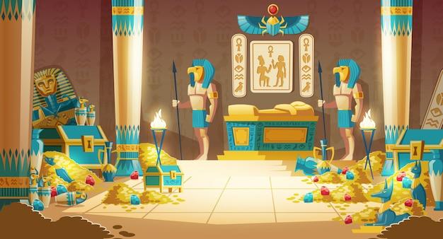 Caricature de la tombe ou du trésor du pharaon égyptien avec des guerriers portant des masques, des lances armées Vecteur gratuit
