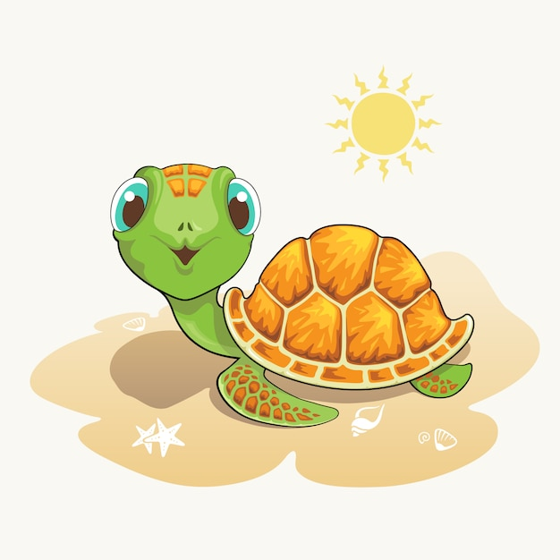 Caricature de tortue mignonne sur la plage Vecteur Premium
