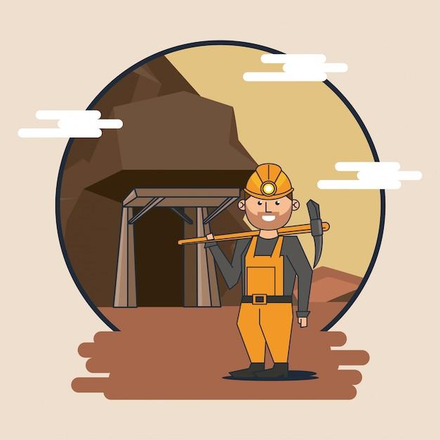 Caricature de travailleur minier Vecteur Premium