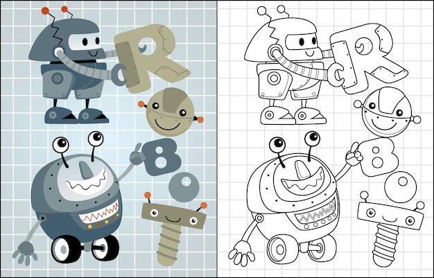Caricature de vecteur de robots drôles Vecteur Premium