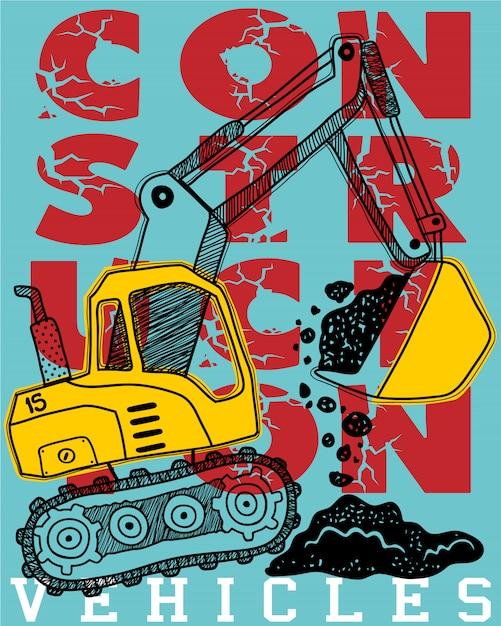 Caricature de véhicule de construction sur fond de typographie Vecteur Premium