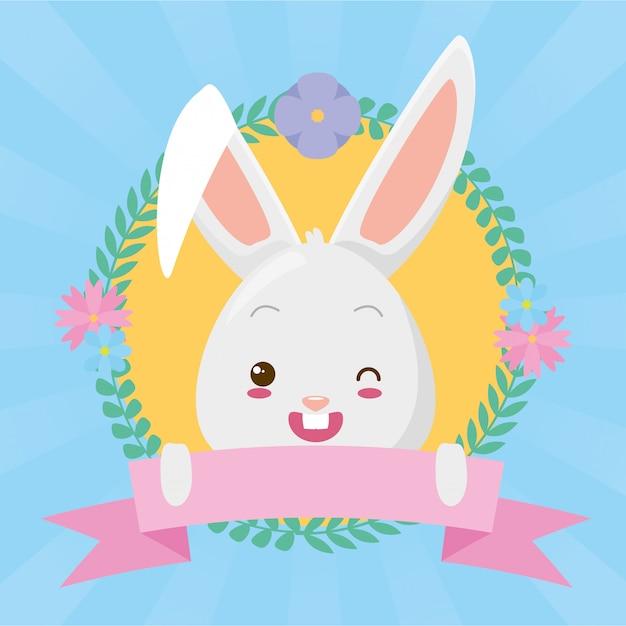 Caricature de visage de lapin mignon avec ruban Vecteur gratuit