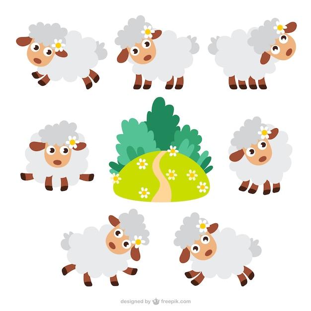 Caricatures de moutons emballent Vecteur gratuit