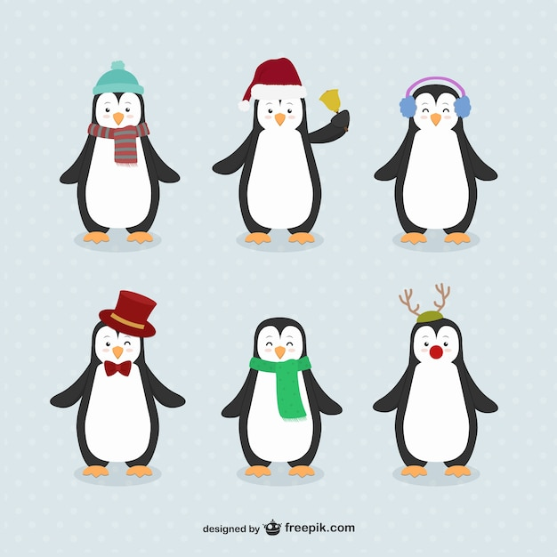 Caricatures penguin emballent Vecteur gratuit