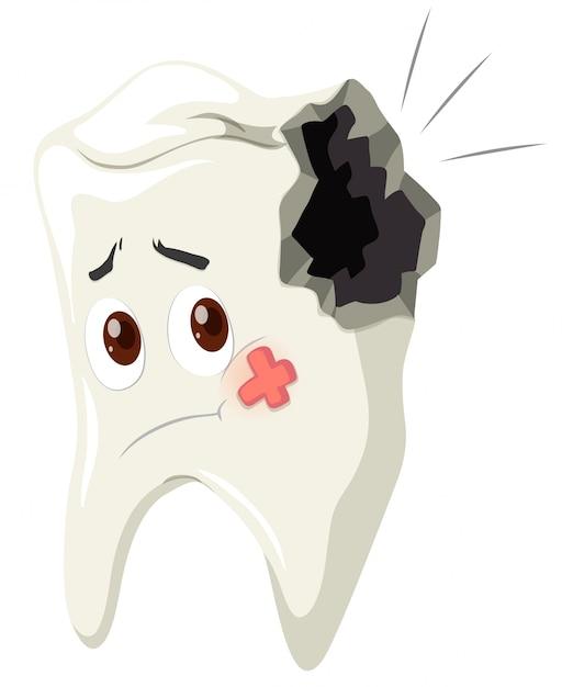 Carie dentaire avec visage triste Vecteur gratuit