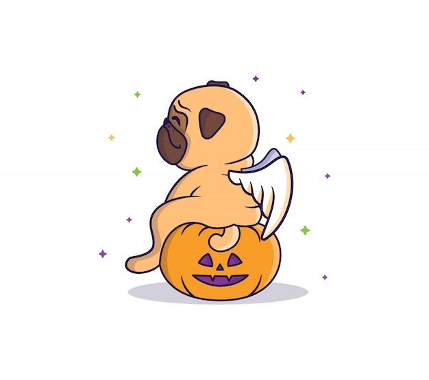 Le Carlin Drôle Assis Sur La Citrouille La Nuit Sous Les Départs Colorés. Illustration Vectorielle De Halloween Vecteur Premium