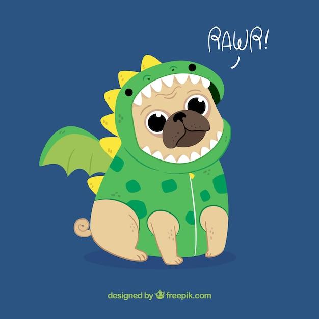 Carlin mignon avec un costume de dragon Vecteur gratuit