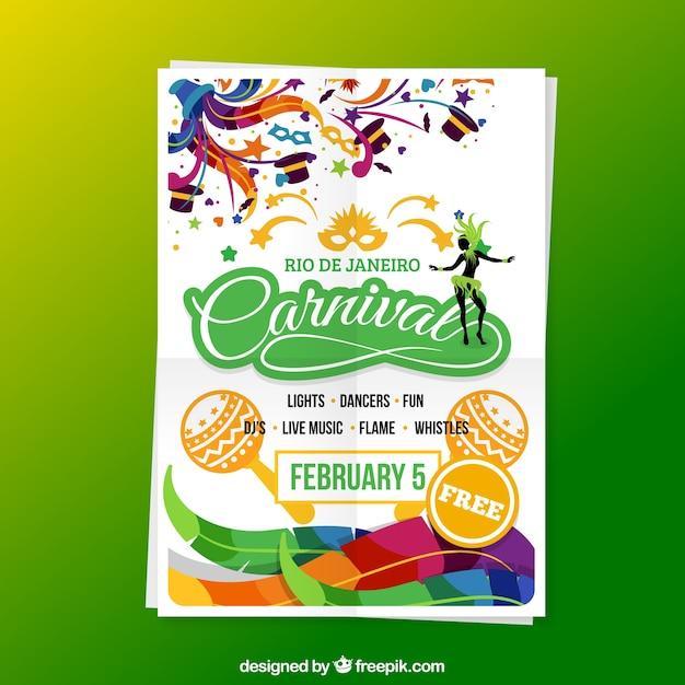 Carnaval affiche dans des couleurs vives Vecteur gratuit