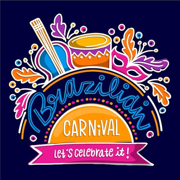Carnaval Brésilien Dessiné à La Main Avec Des Instruments De Musique Vecteur gratuit