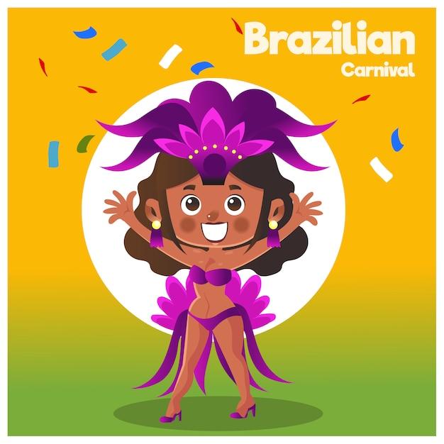 Carnaval brésilien. Vecteur Premium