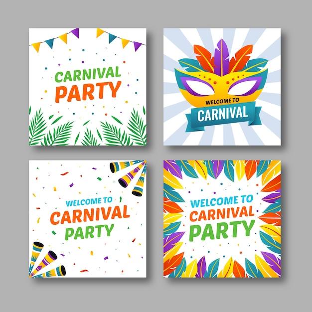Carnaval Party Posts Pour Instagram Vecteur gratuit