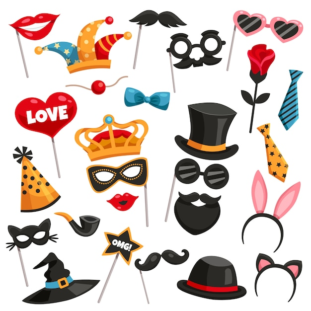 Carnaval photo booth party icon set Vecteur gratuit