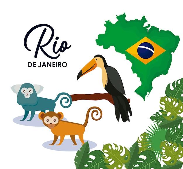 Carnaval rio janeiro avec des animaux Vecteur Premium