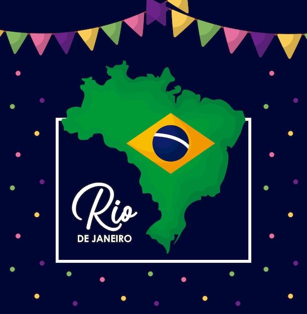 Carnaval rio janeiro carte avec carte Vecteur Premium