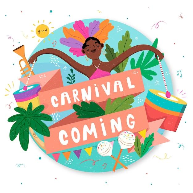 Carnaval Venant Avec Femme Danse Dessinés à La Main Vecteur gratuit