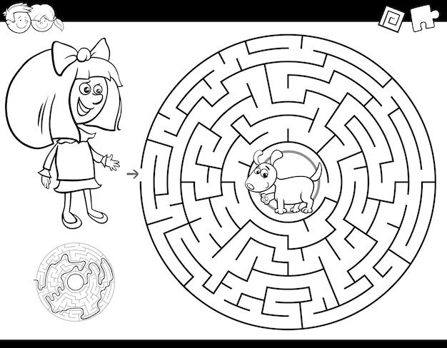 Carnet de couleurs maze avec fille et chiot Vecteur Premium