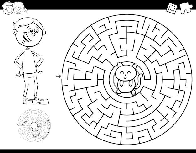 Carnet de couleurs maze avec garçon et chaton Vecteur Premium