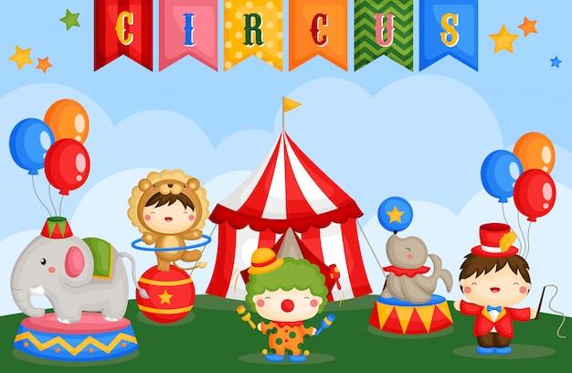 Carnival circus day Vecteur Premium