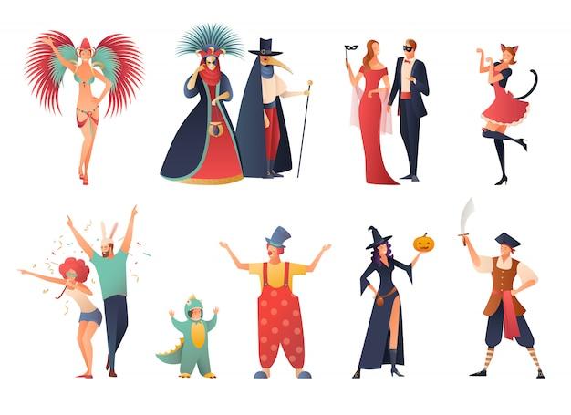Carnival party icons set Vecteur gratuit
