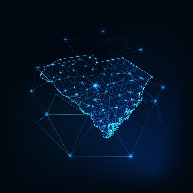 Caroline Du Sud Usa Map Contour Silhouette Rougeoyante Faite D'étoiles Lignes Points Triangles Vecteur Premium
