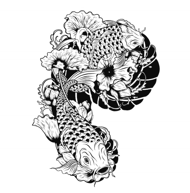 Carpe de poisson avec tatouage de vecteur de lotus à la main dessin Vecteur Premium