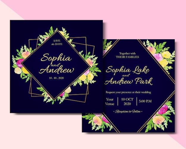 Carré de carte invitation aquarelle florale Vecteur Premium