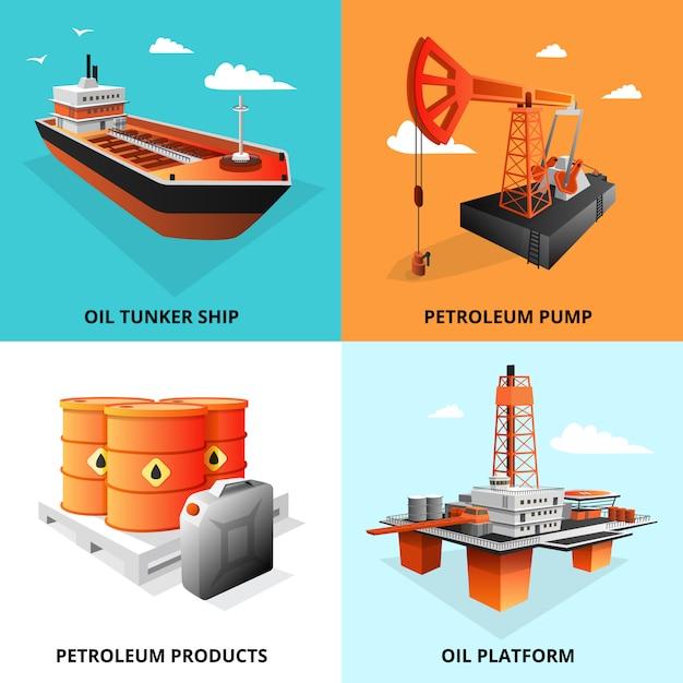 Carré d'éléments isométriques concept industrie pétrolière avec plate-forme d'extraction et illustration vectorielle de pétrolier transport pétrolier isolé Vecteur gratuit