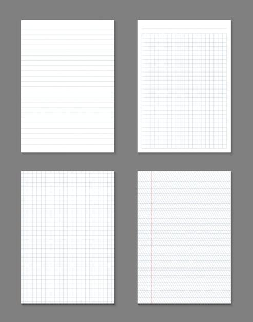 Carré, feuilles de papier lignées, cahier à grille. Vecteur Premium