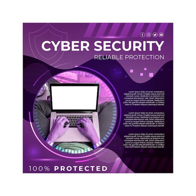 Carré De Flyer Cybersécurité Vecteur gratuit