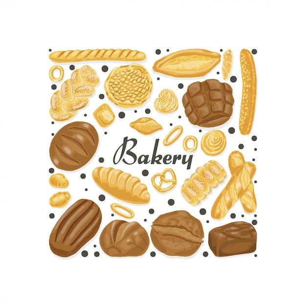 Carré isolé de produits de boulangerie Vecteur Premium