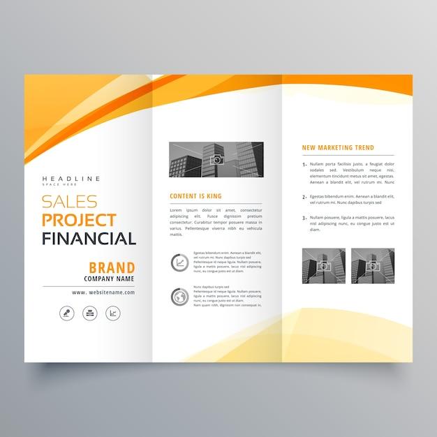 Carré ondulé jaune tri fold business brochure template template Vecteur Premium