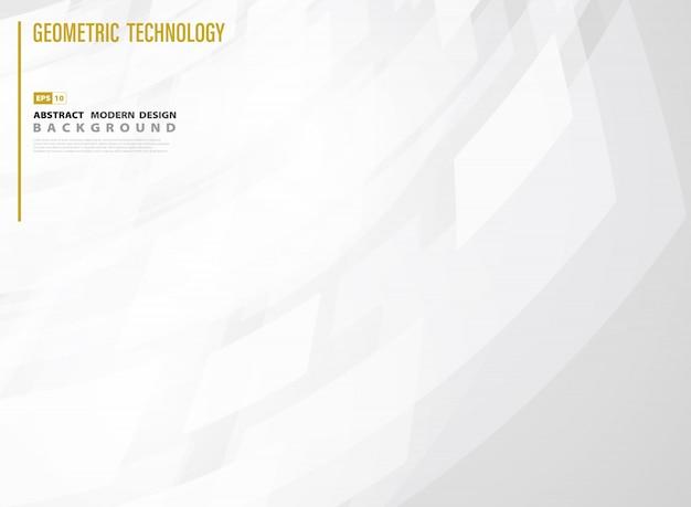 Carré de la technologie abstraite d'arrière-plan de conception de modèle dégradé blanc. Vecteur Premium