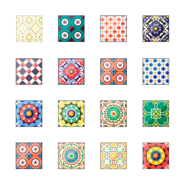 Carreaux d'azulejo de beau fond coloré Vecteur Premium