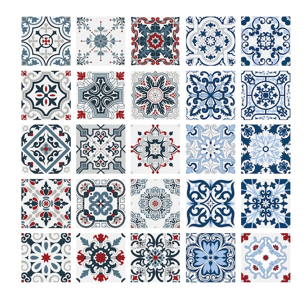 Carreaux motifs portugais antique design sans couture en vintage illustration vectorielle Vecteur Premium