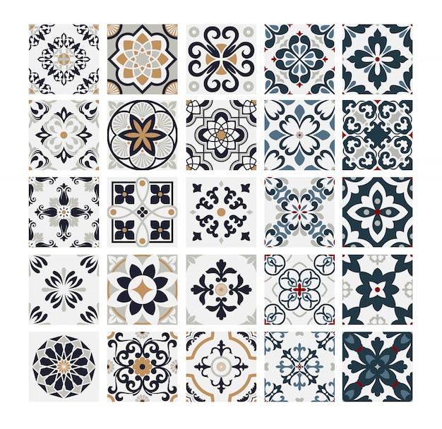 Carreaux motifs portugais antique design sans couture en vintage illustration vectorielle Vecteur Premium