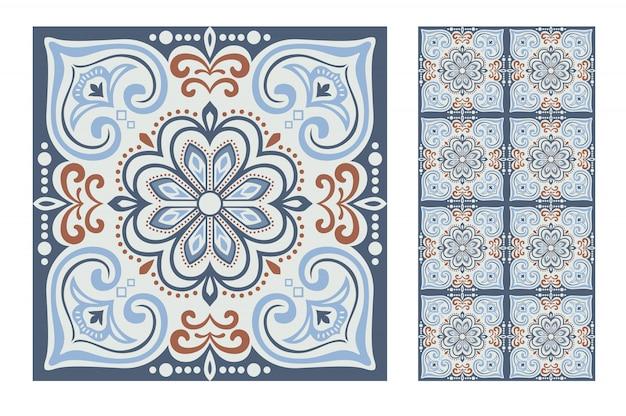 Carreaux motifs portugais antique design sans couture Vecteur Premium